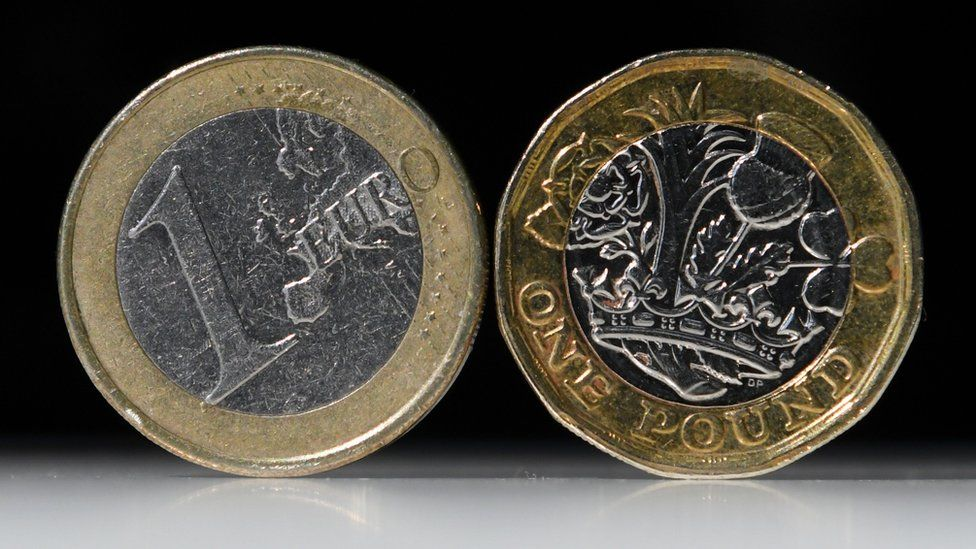 A one euro and one pound coin