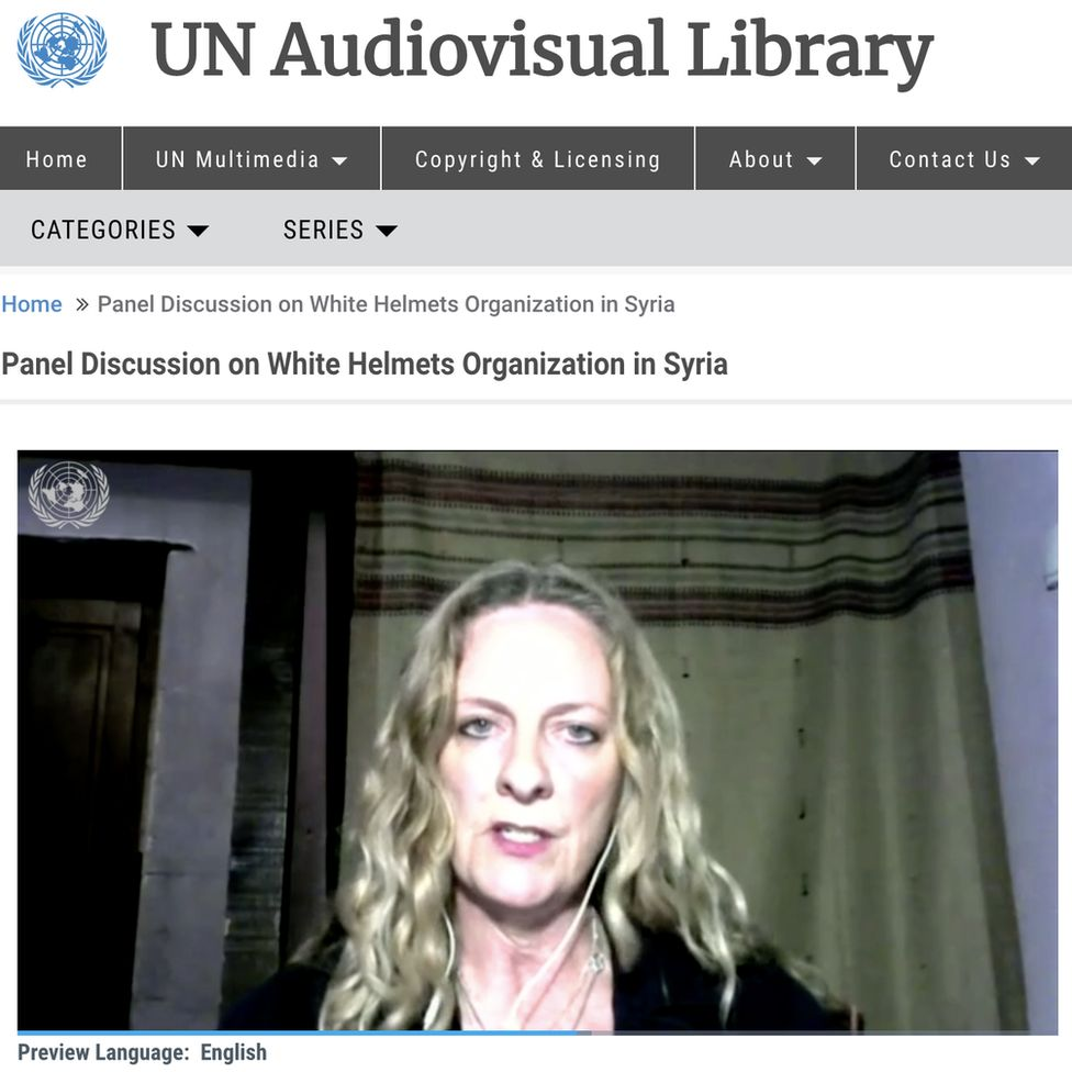 Vanessa Beeley participating in a joint Russian and Syrian presentation at the UN
