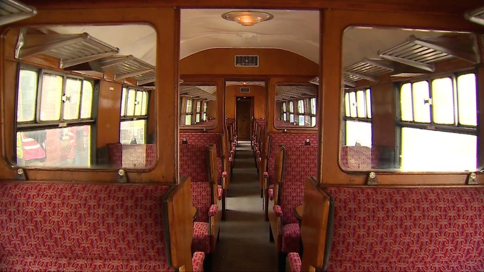 Inside one of the carriages being auctioned