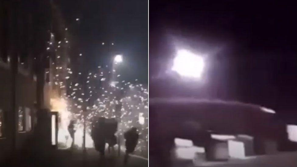 Fireworks at University of Northampton's Waterside Campus