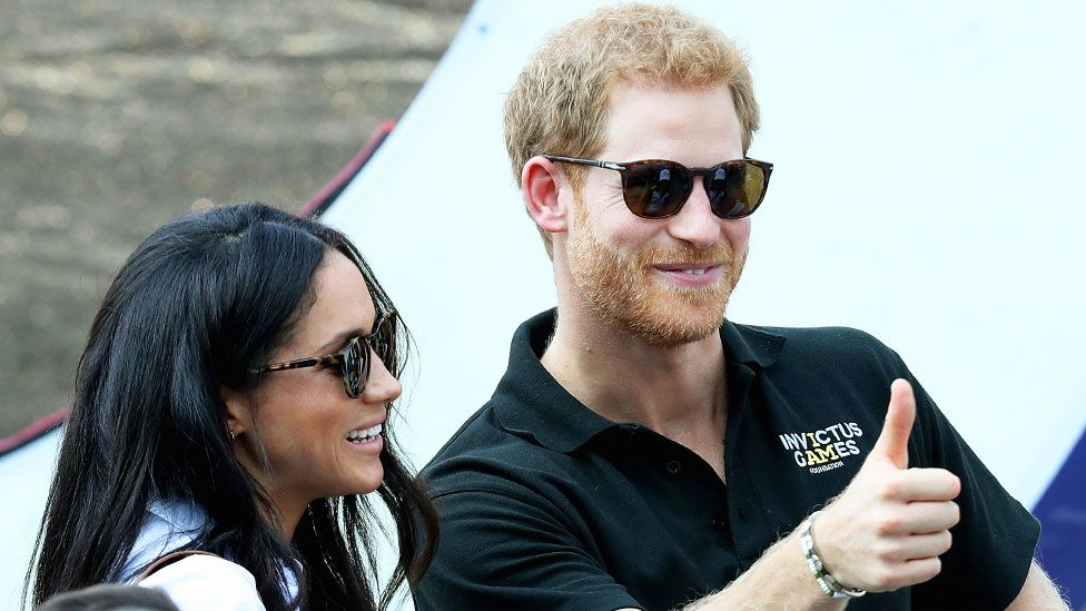Meghan Markle and Prince Harry at their first appearance together in public in September 2017