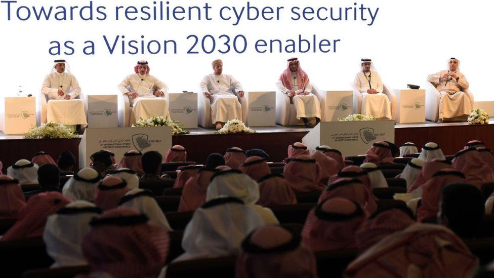 Saudis attend the International Cyber Security Conference in Riyadh on 27 February 2017