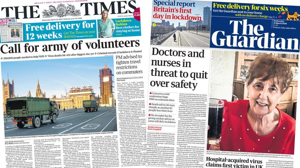 Front pages of the Times and the Guardian