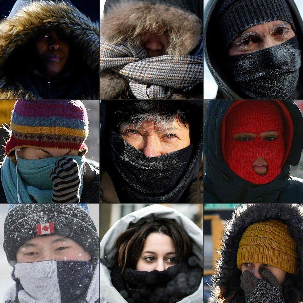رهگذران در شهرهای مختلف آمریکا صورتهایشان را در برابر سرمای شدید پوشاندهاند