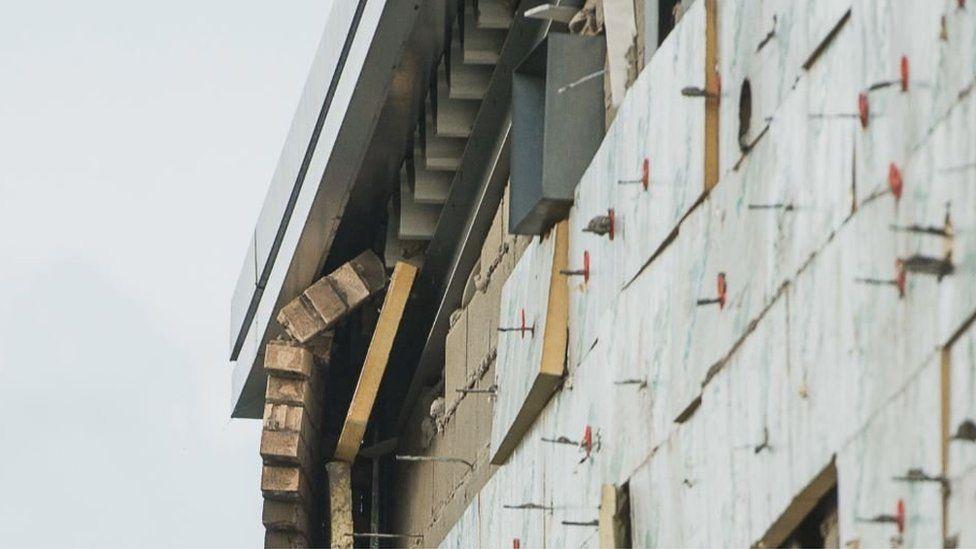 Wall ties on school wall
