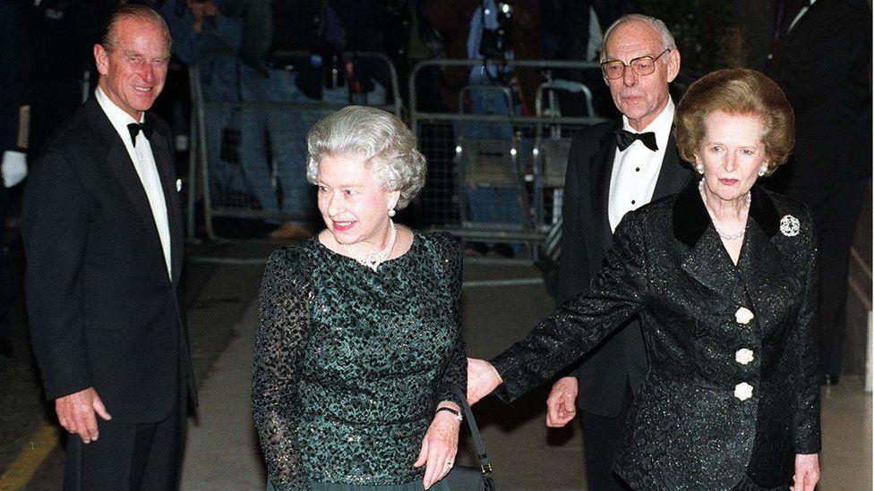 Queen Elizabeth and Prince Philip with Margaret Thatcher