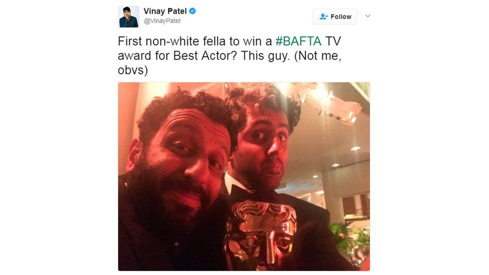 "Vinay Patel tweet: ""First non-white fella to win a #Bafta TV award for best actor? This guy."""