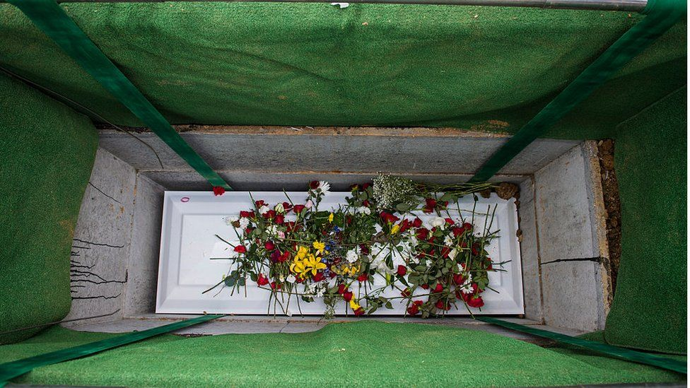 Casket lowered into grave