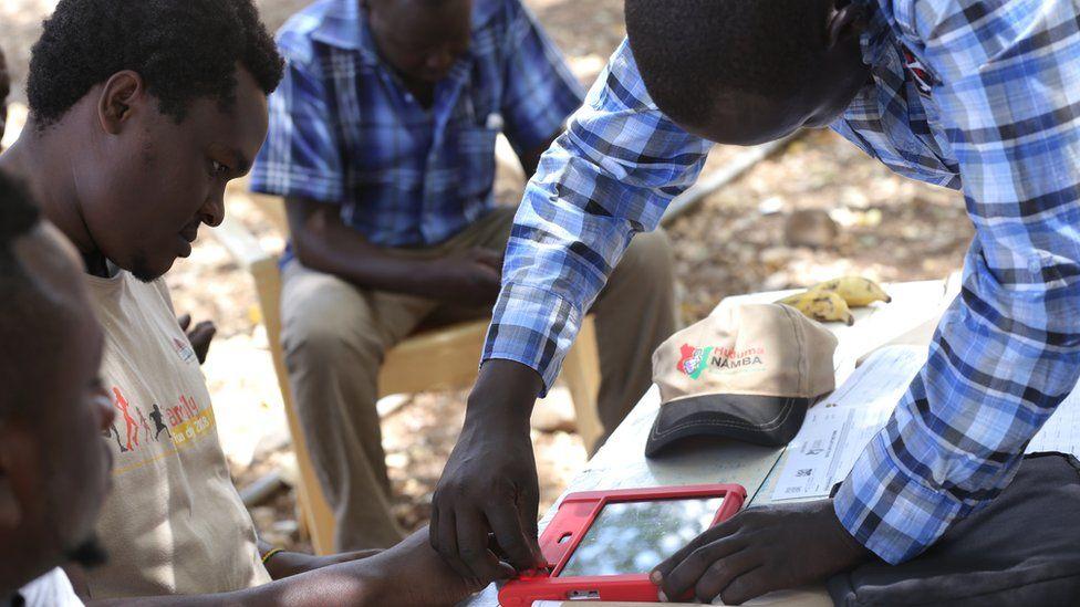 A person having their fingerprints taken as part of the Huduma Namba scheme last year