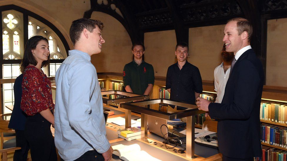 Prince William spoke to students at Magdalen College