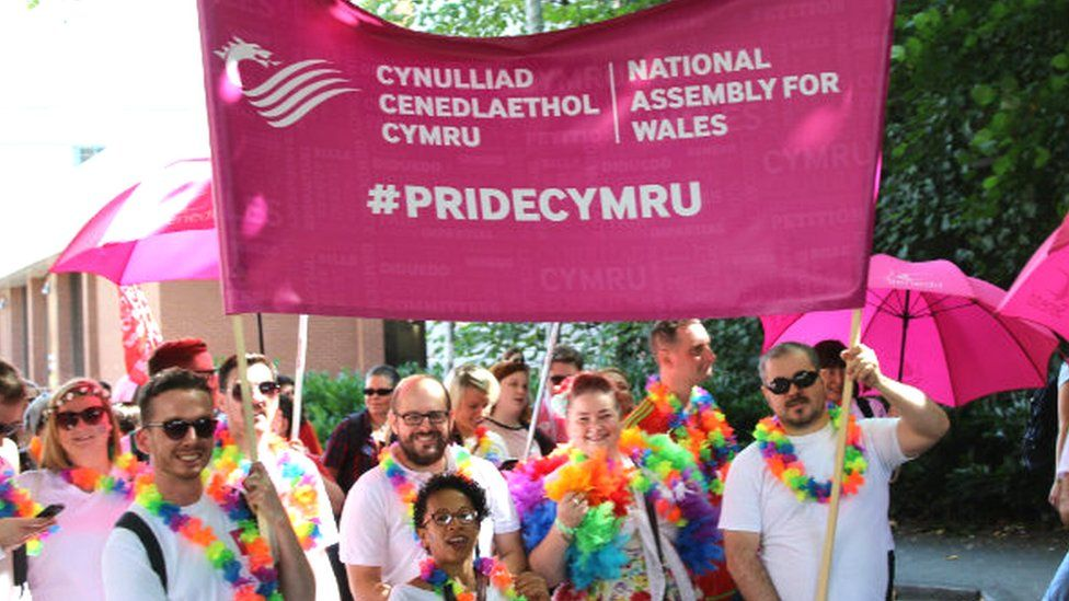 Welsh Assembly banner at the Pride Cymru march
