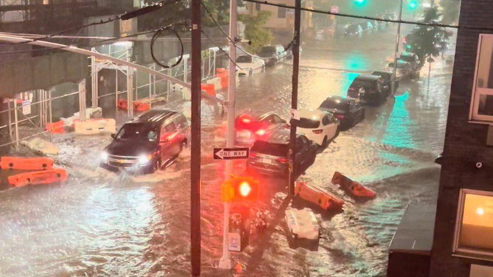Flooding in Williamsburg, Brooklyn, New York on 1 September 2021 Credit: Jaymee Sire via Reuters