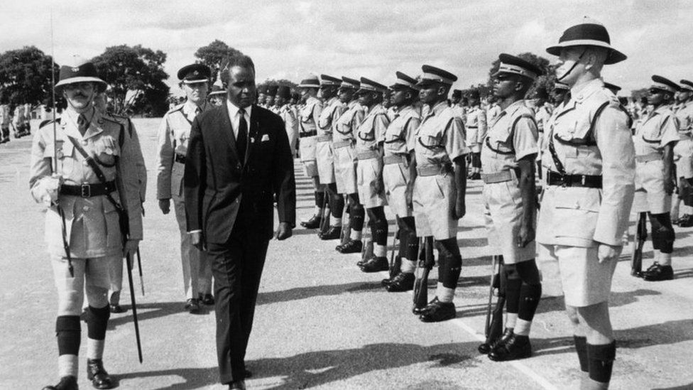 The prime minister of newly-independent Northern Rhodesia, Kenneth Kaunda, inspecting the Northern Rhodesian Police
