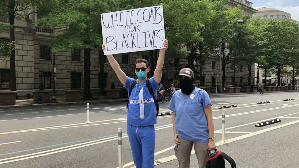 Ben Longwell and Justine Summers at the DC protests on Saturday 6 June