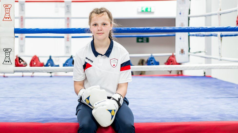 Sophie in a boxing ring