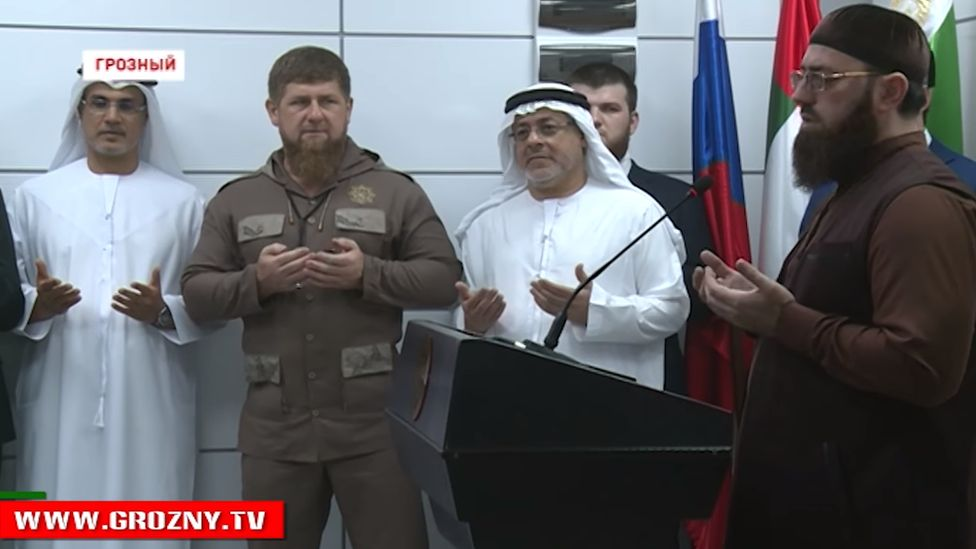 Chechen leader Ramzan Kadyrov (second left) and Hussain Jasim Al Nowais (second right), the chairman of the UAE Khalifa Foundation, Grozny, 2017