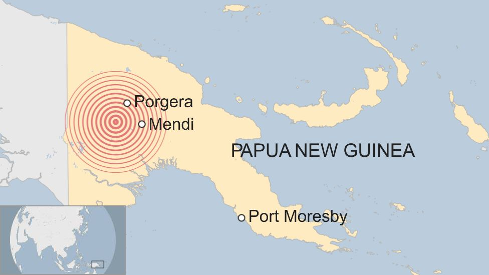Map showing earthquake's initial tremor in Papua New Guinea's central provinces.