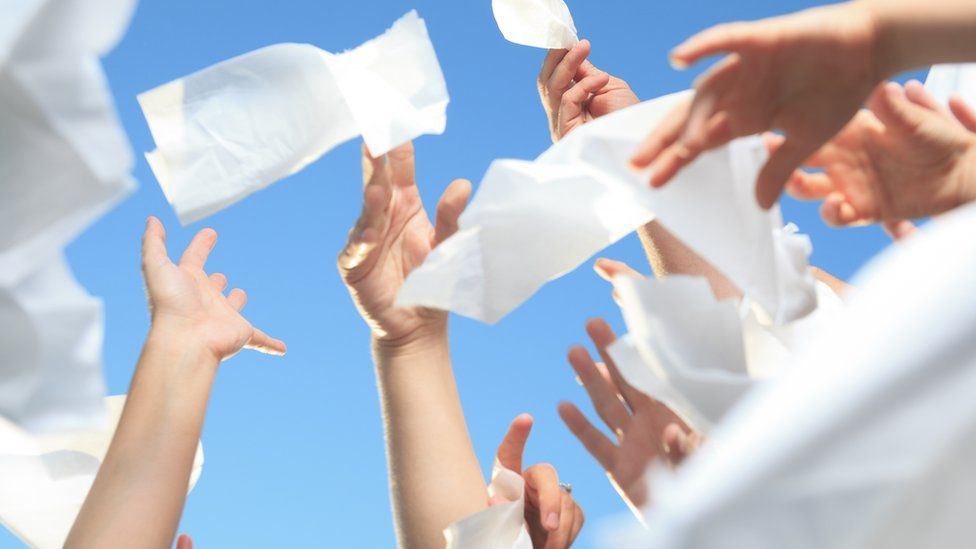 people catching tissues