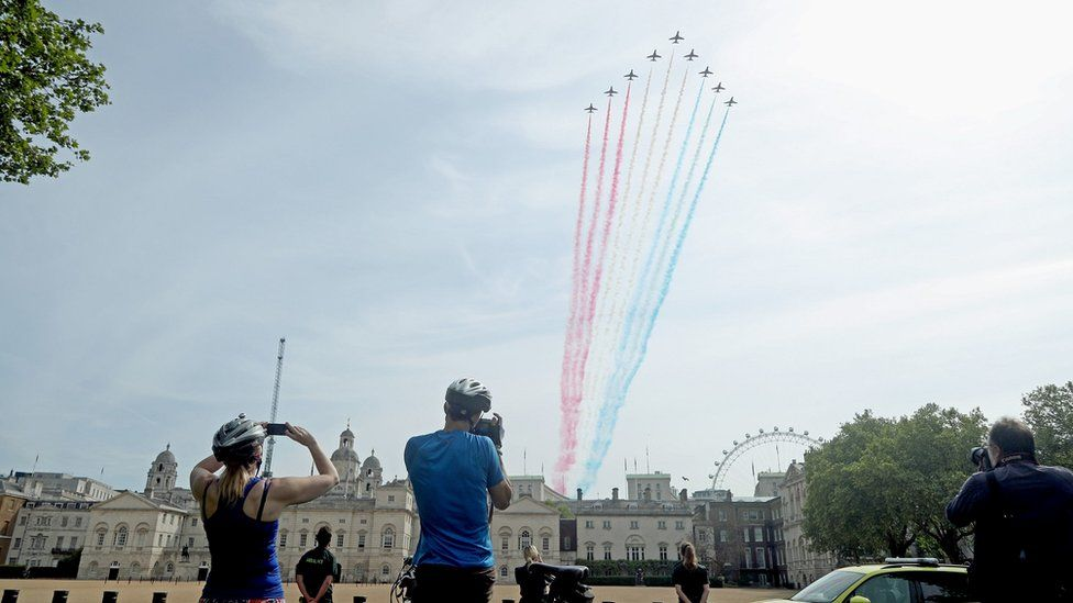 The Red Arrows flew over Horse Guards Parade
