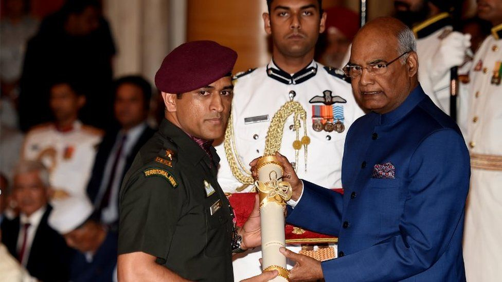 MS Dhoni, who is an honorary officer in the Territorial Army, received the honour on Monday