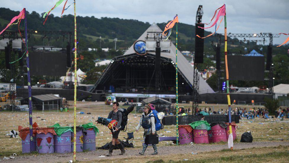 Glastonbury Festival-goers depart Worthy Farm in 2019