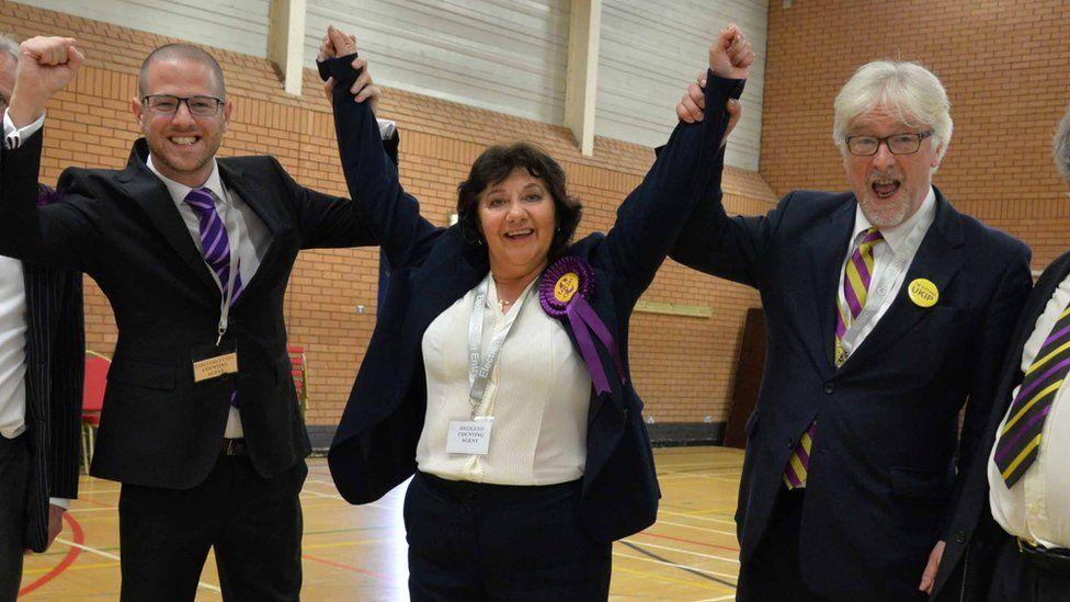 UKIP's Caroline Jones celebrates becoming an assembly member