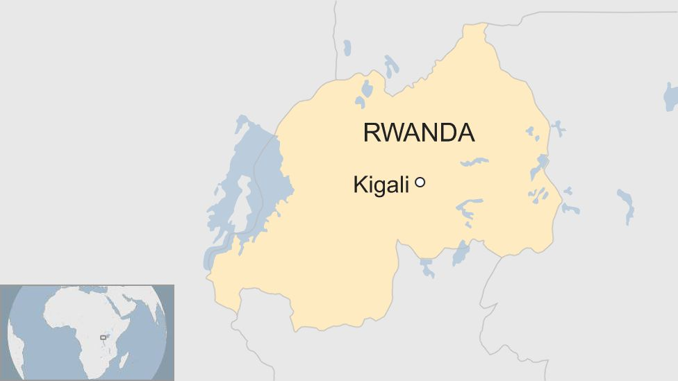 A map showing the location of Kigali in Rwanda