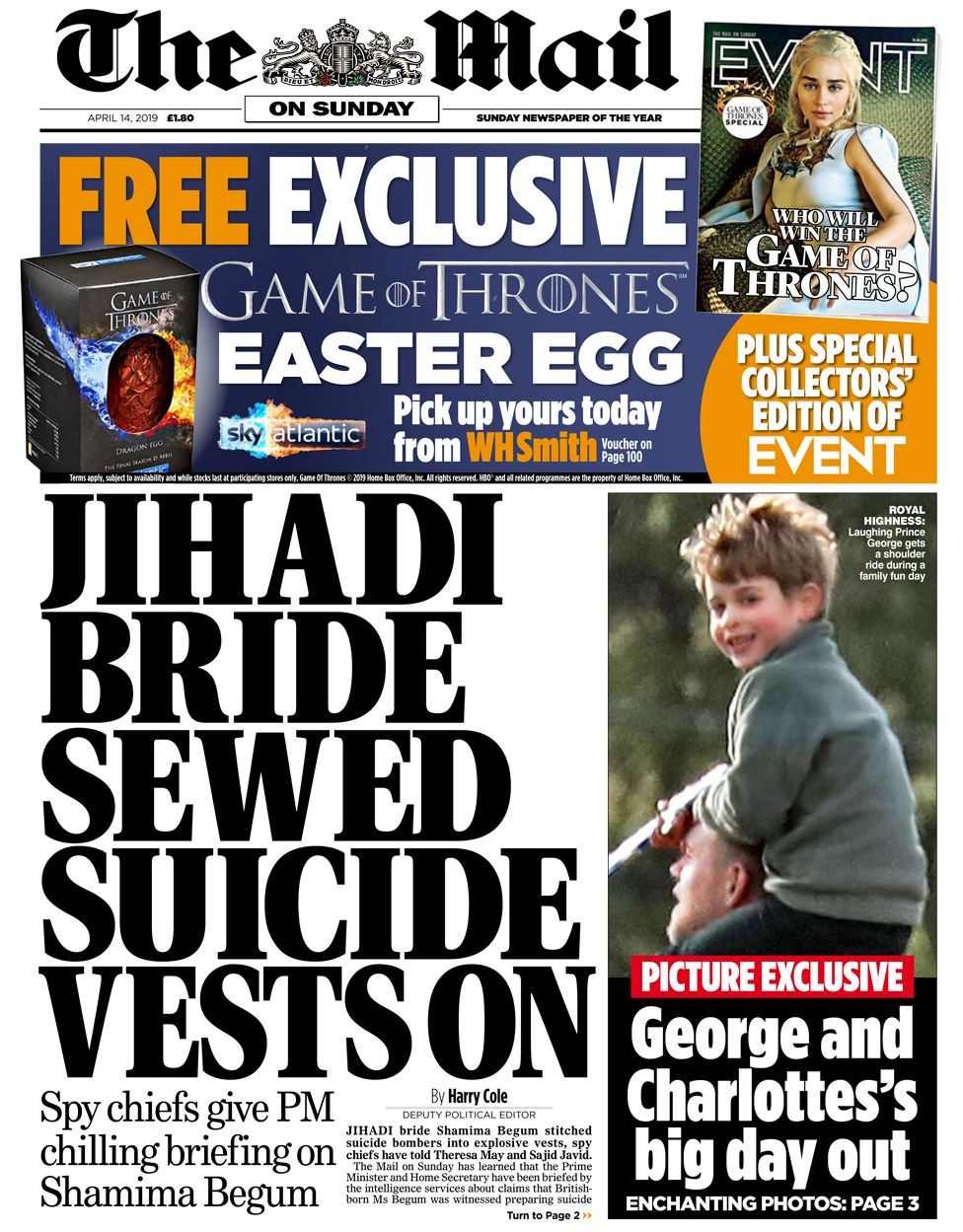 Mail on Sunday front page, 14/4/19