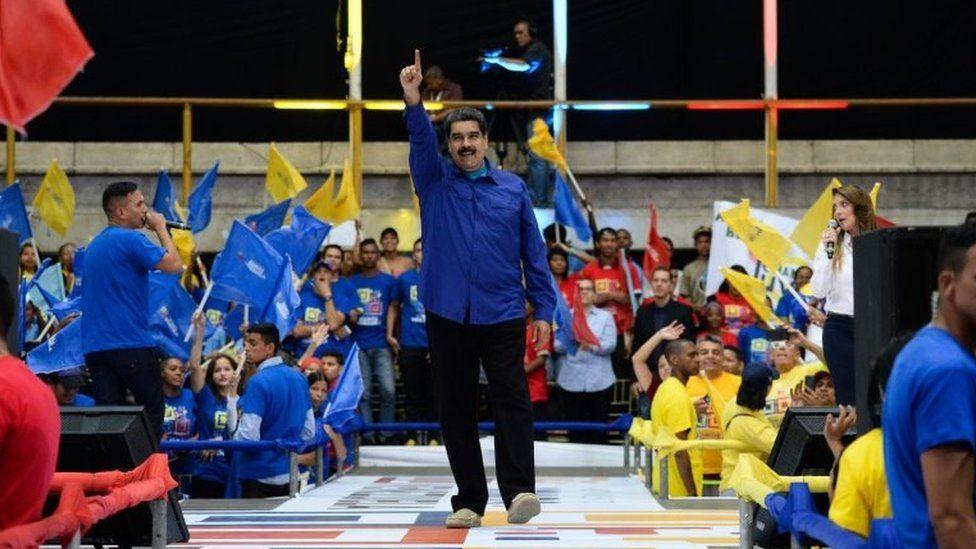 Venezuelan President Nicolas Maduro gestures during a rally in Caracas on February 7, 2018