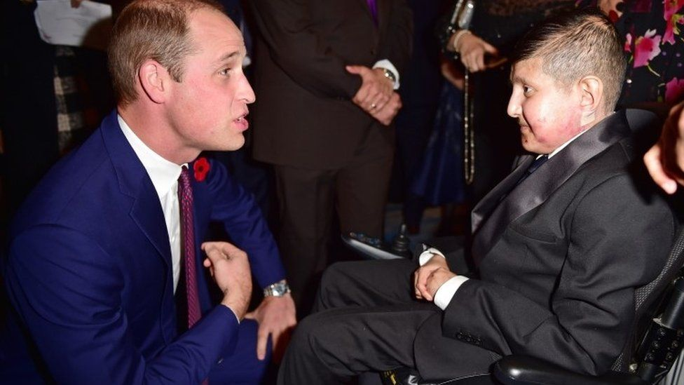 TeenagerOf Courage award winner Moin Younis and Prince William