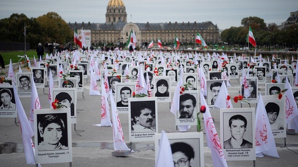 Some 800 portraits of victims of the 1988 massacre displayed in Paris in 2019