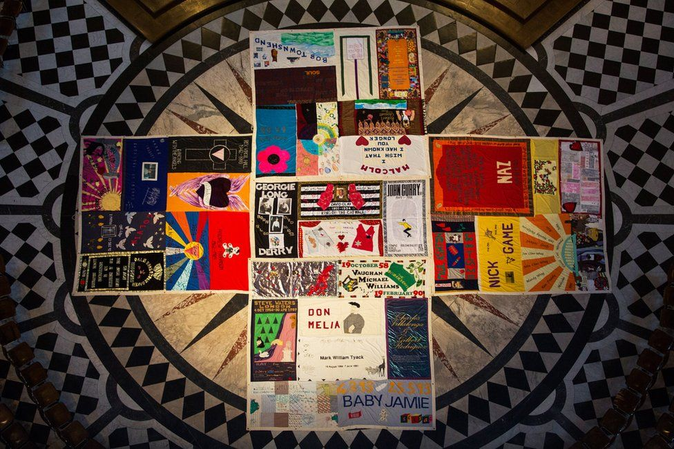 The UK AIDS Memorial Quilt on display at St Paul's Cathedral