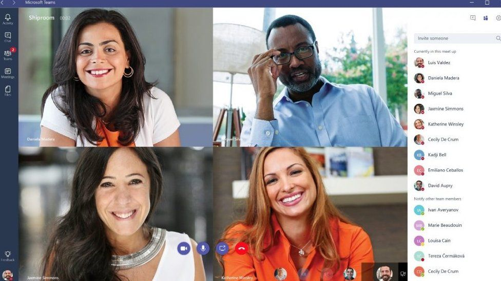 Four people on a Microsoft Teams call