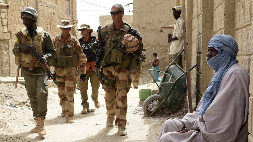File image of members of the French anti-terrorist Barkhane force patrolling in Mali