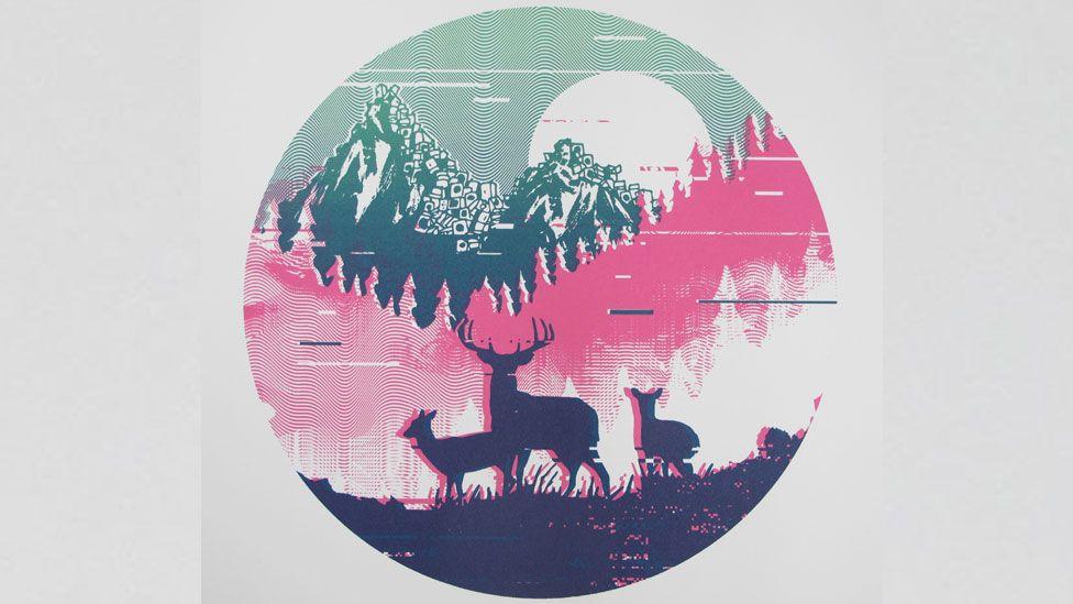 Dario Designs' screen print of The Sophtware Slump by Grandaddy