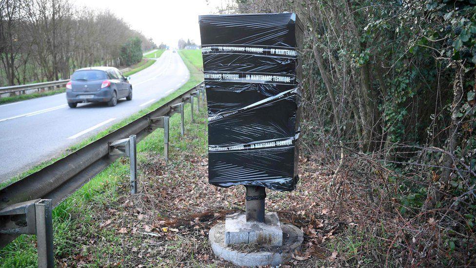 Destroyed speed camera, Saint-Jean-sur-Vilaine, western France, 8 Jan 19