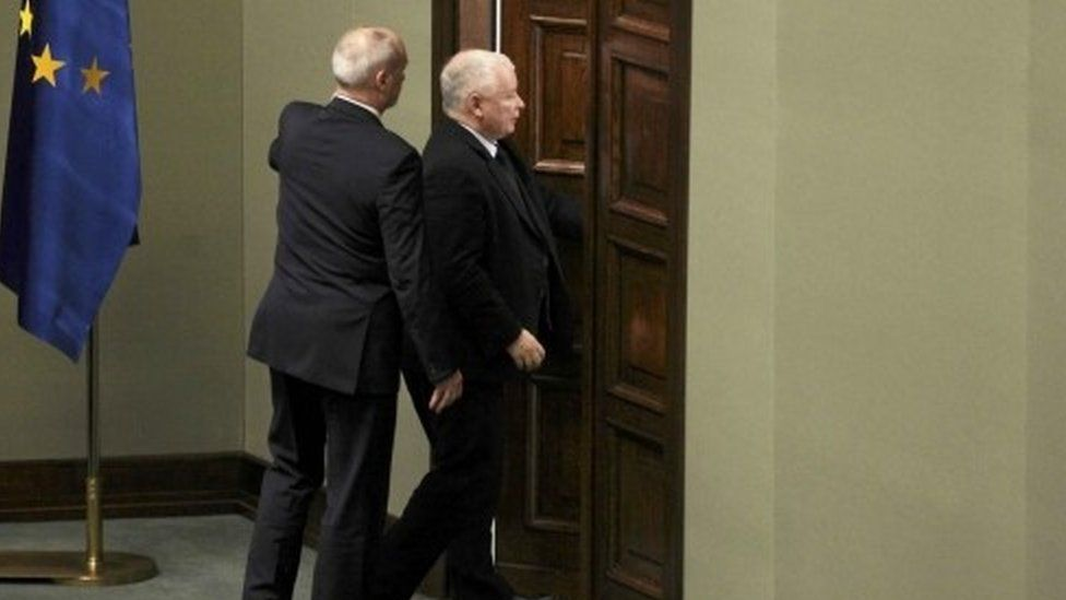 Jaroslaw Kaczynski leaves parliament as Polish opposition MPs protest against proposed new parliamentary reporting rules