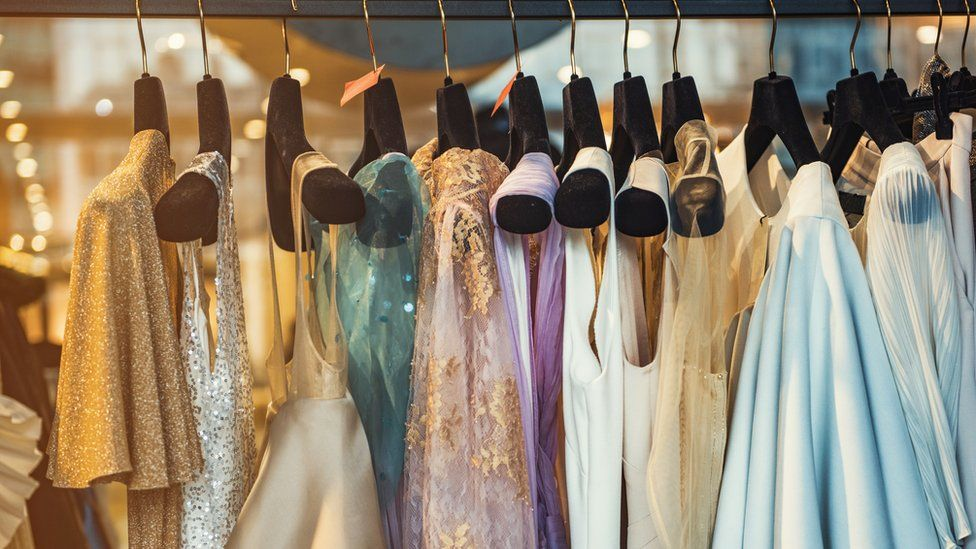 A rack of luxury clothes