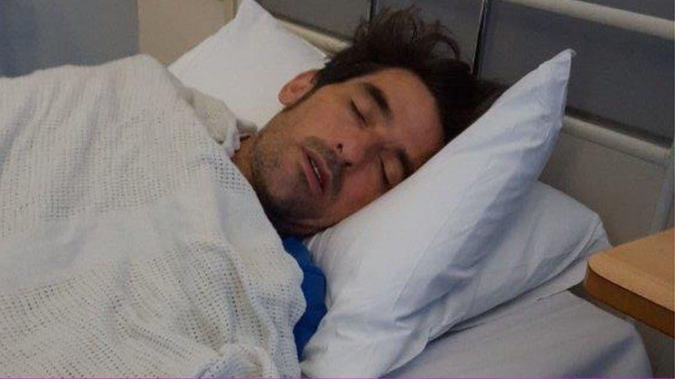 Tony Wright in hospital