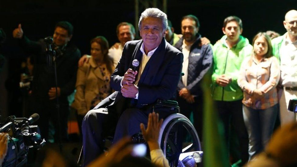 Lenin Moreno, candidate of the ruling PAIS Alliance Party, pauses while celebrating the early results of the presidential election with supporters in Quito, Ecuador February 19, 2017