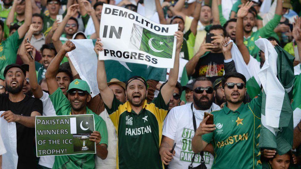 Pakistan fans celebrate after the ICC Champions Trophy final match between India and Pakistan at the Kia Oval cricket ground on June 18, 2017 in London, England.