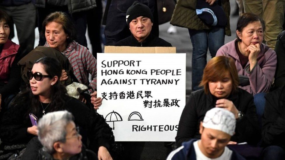 Supporters of Hong Kong pro-democracy protesters demonstrate in Sydney