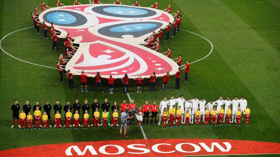 Croatia and England teams line up before match