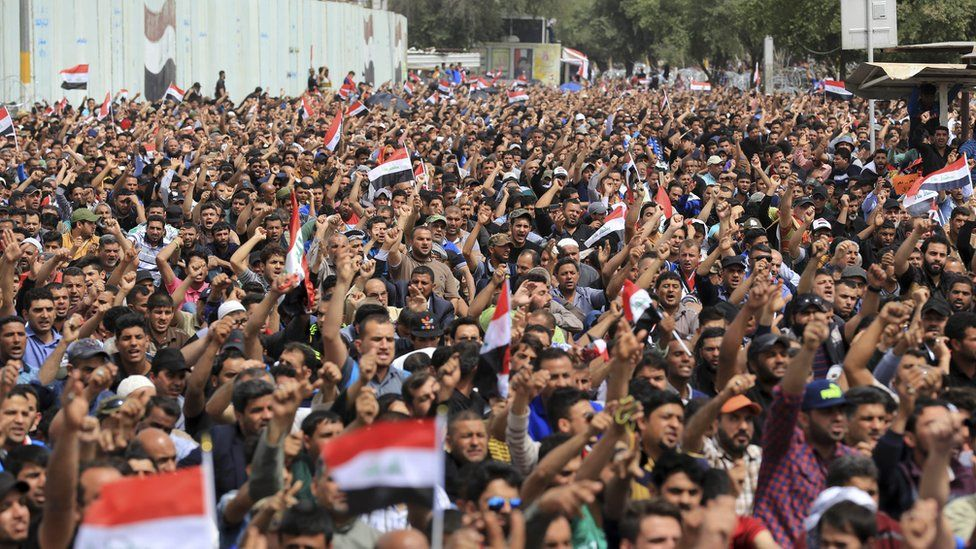Followers of Shiite cleric Muqtada al-Sadr protest outside the heavily guarded Green Zone in Baghdad