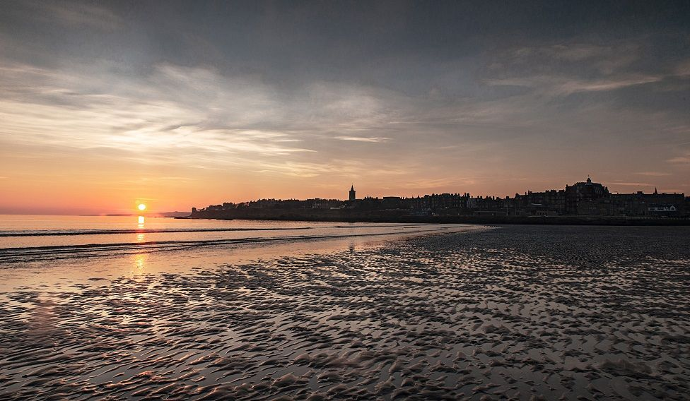 Sun rise over West Sands, St Andrews