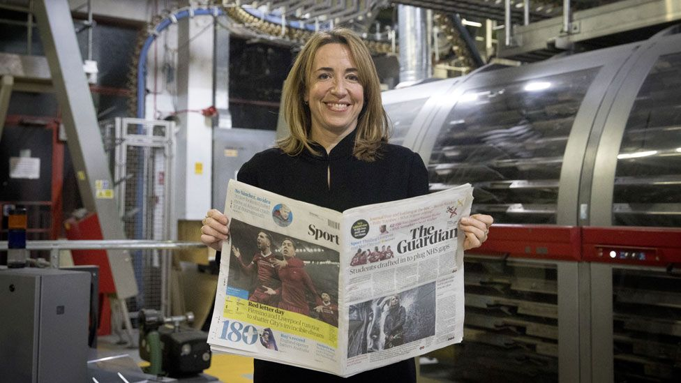 Katharine Viner, editor-in-chief, on the first day of the tabloid Guardian