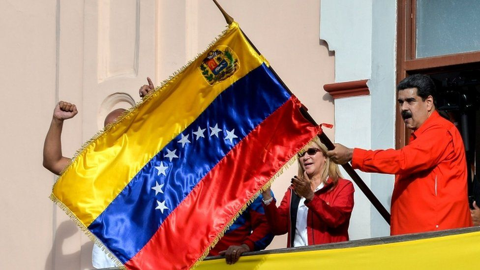Nicolás Maduro rallied supporters at the presidential palace