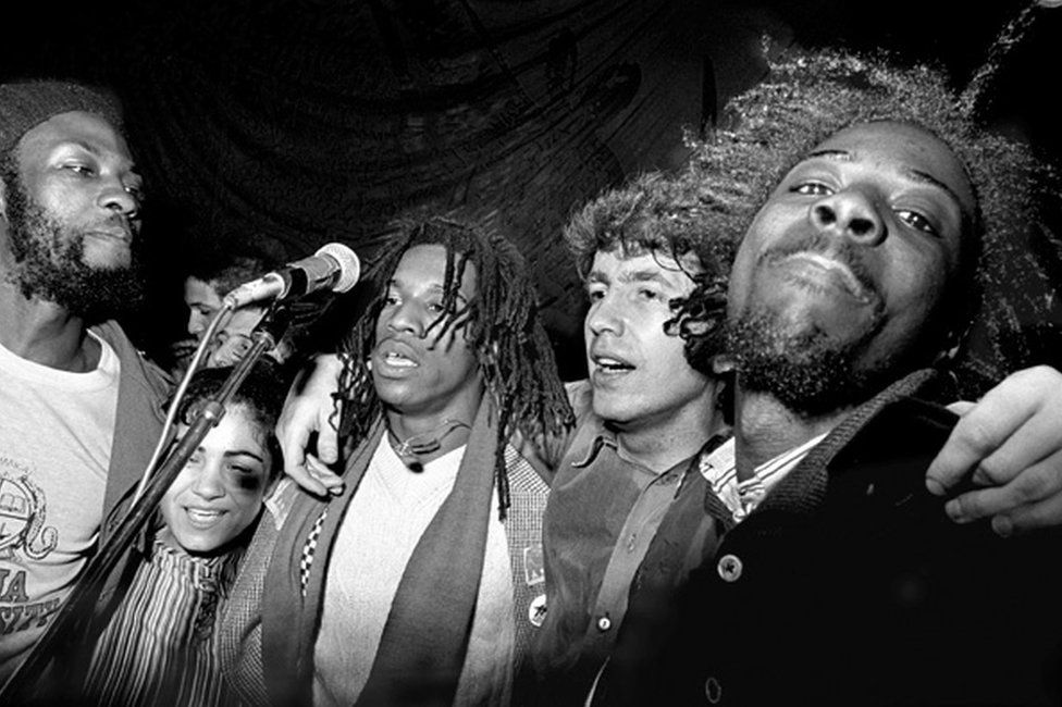Dambala and Misty in Roots with Tom Robinson, 1979