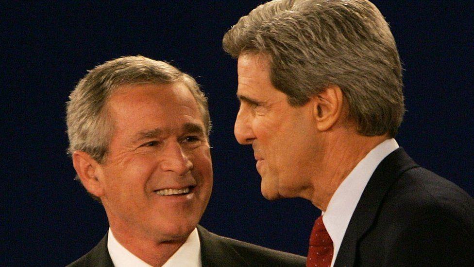 George Bush and John Kerry