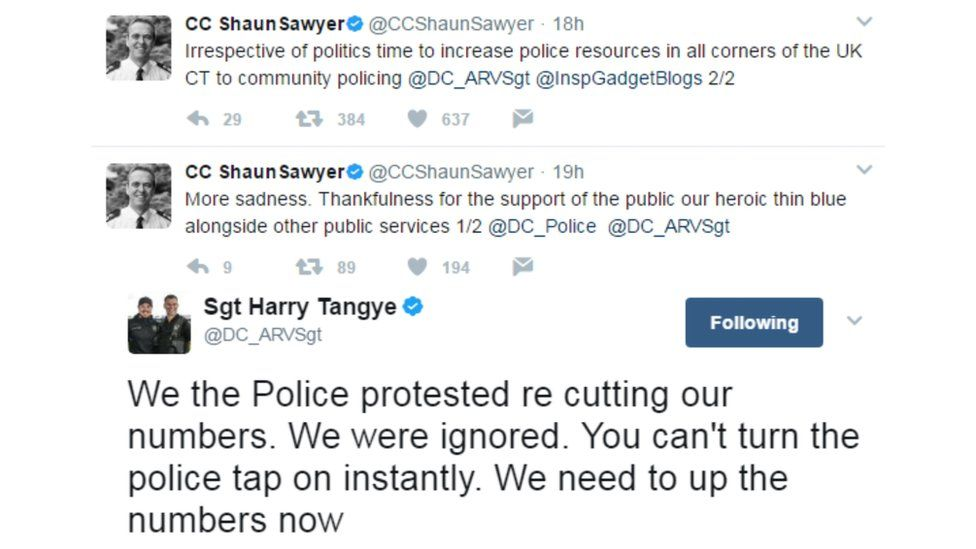 The officers were tweeting after a terror attack in London in which seven people were killed